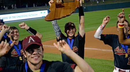 STORY & PHOTOS: ANDREAN–2, JASPER-1  Niners battle Wildcats and weather for fifth state baseball crown
