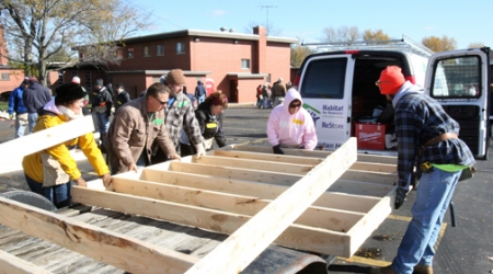 'Awesome' turnout as parish assembles walls for vet's home during Habitat build
