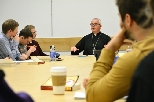 Bishop Hying and VU students